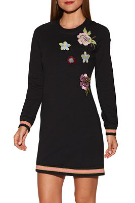 Patch sweatshirt dress