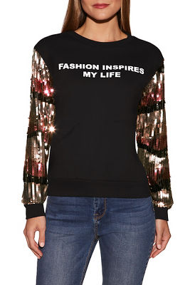 sequin graphic sweatshirt