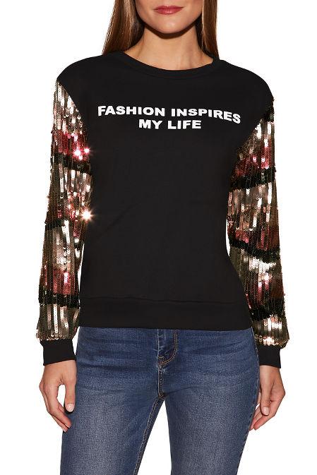Sequin graphic sweatshirt image