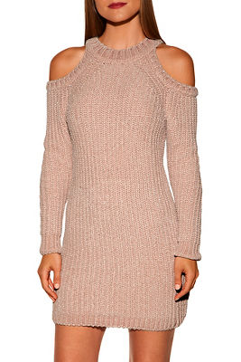 Chenille cold shoulder sweater dress