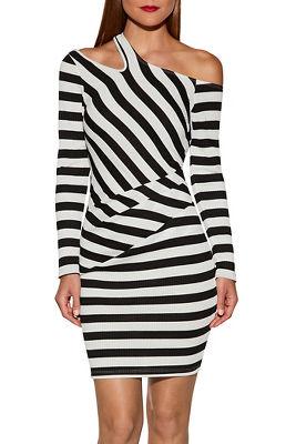 Cutout stripe ribbed dress