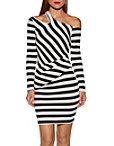 Cutout Stripe Ribbed Dress Photo