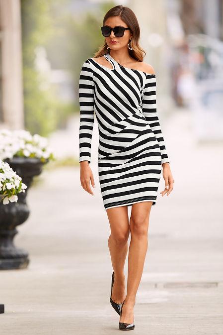 Cutout stripe ribbed dress image