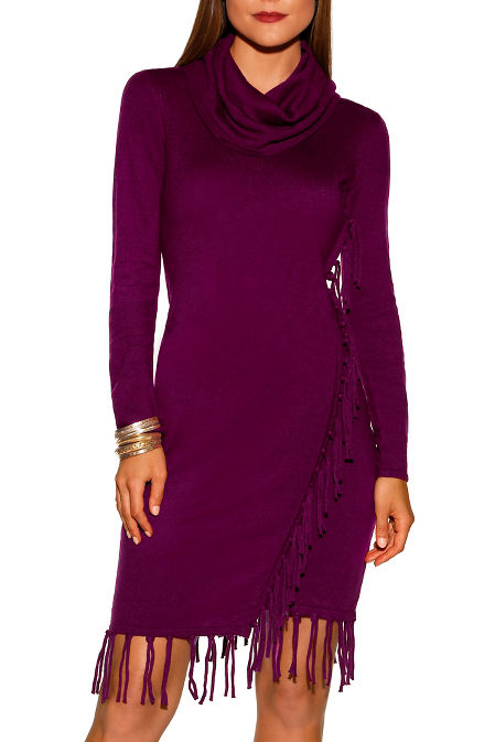 Fringe cowl neck dress image