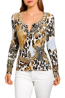 Animal print long sleeve cardigan