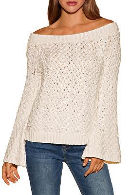 Basket Weave Off-the-shoulder Sweater