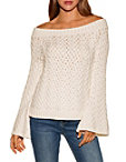 Basket Weave Off-the-shoulder Sweater Photo