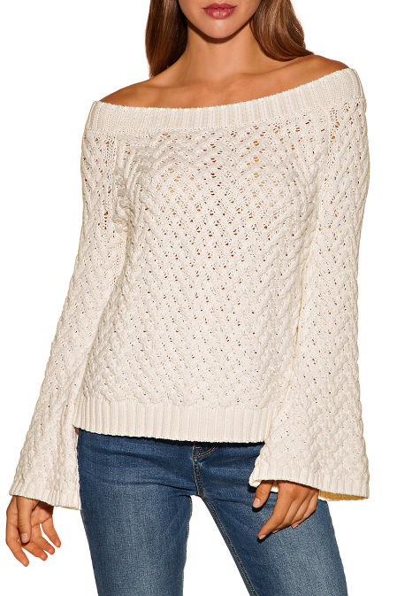 Basket weave off-the-shoulder sweater image