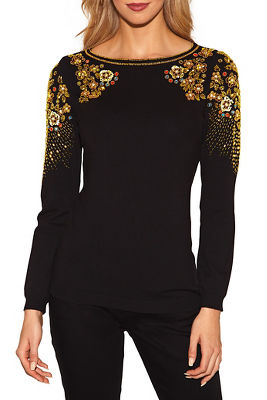 Beaded crew neck sweater