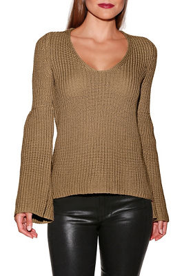 Bell sleeve v-neck sweater