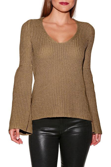 Bell sleeve v-neck sweater image