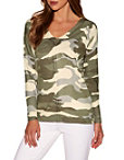 Camo Slouchy V-neck Sweater Photo