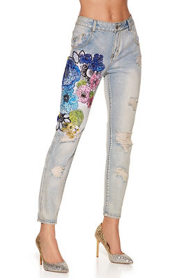 Colorful flower lace jean
