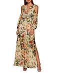 Cold Shoulder Floral Surplice Maxi Dress Photo