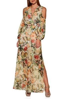 Cold shoulder floral surplice maxi dress