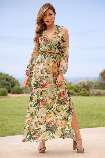 Cold shoulder floral surplice maxi dress image