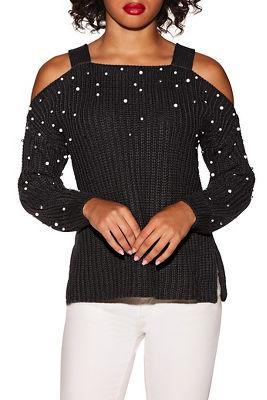Cold shoulder pearl embellished sweater