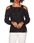 Cold Shoulder Pearl Embellished Sweater Photo