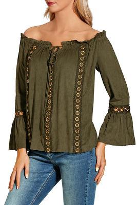 Faux suede grommet off-the-shoulder blouse