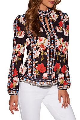 floral print keyhole top