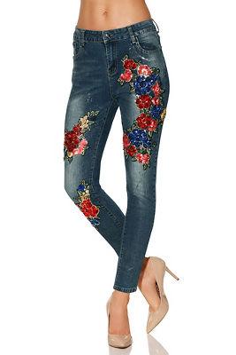 Floral sequin jean