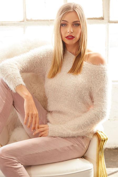Fuzzy sequin sweater image