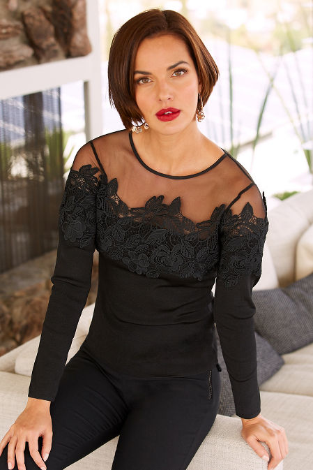 Illusion neckline lace sweater image