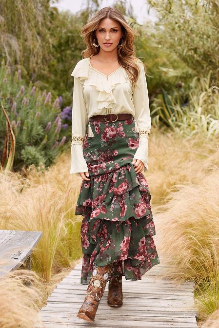 Jewel detail ruffle blouse image