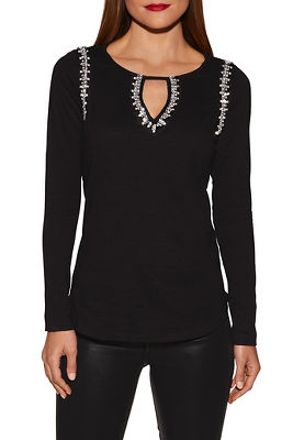 Jeweled long sleeve keyhole slub top