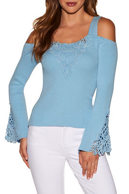 Lace inset cold shoulder ribbed sweater