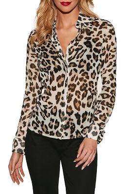Leopard print button-down blouse