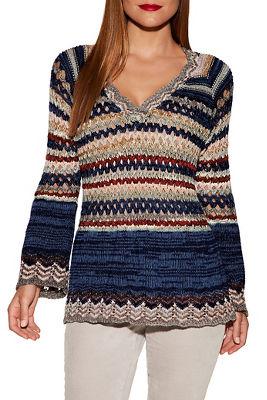 Multicolor crochet v-neck sweater