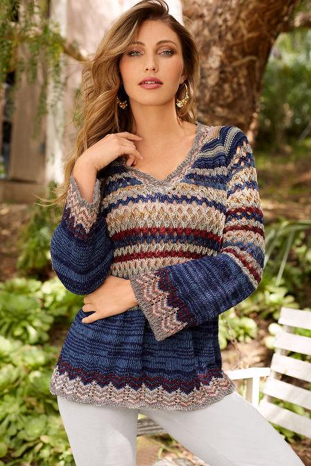 Multicolor crochet v-neck sweater image