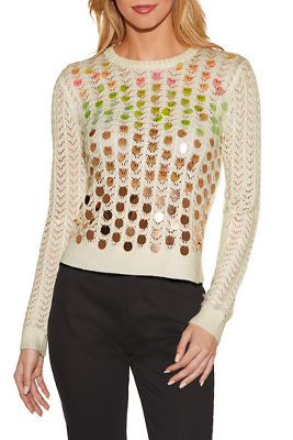 Display product reviews for Ombre paillette open knit sweater