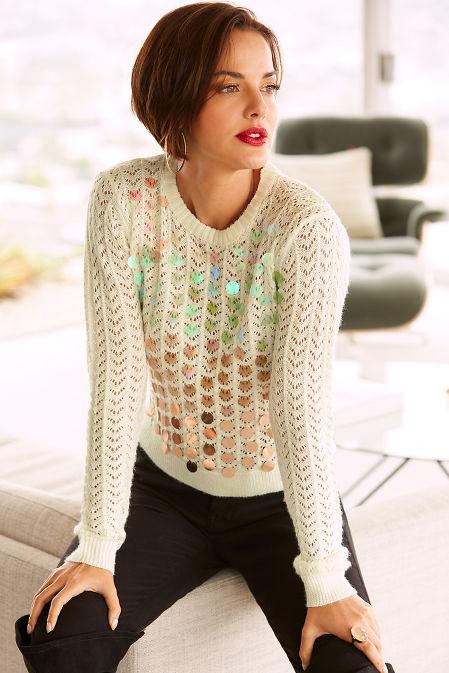 Ombre paillette open knit sweater image