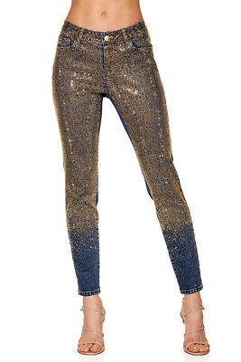 ombre studded ankle jean