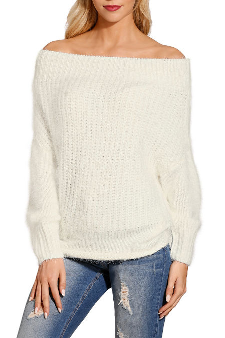 Off-the-shoulder plush sweater image