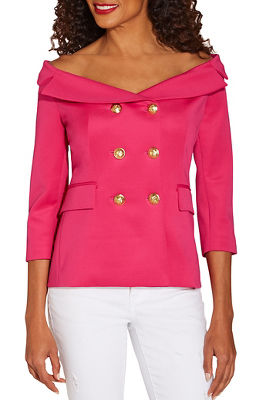 Off-the-shoulder scuba double-breasted jacket