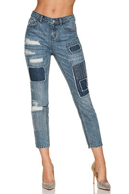 patchwork embellished ankle jean