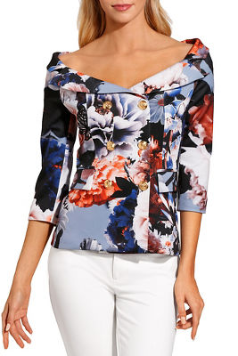 Display product reviews for Printed double-breasted off-the-shoulder jacket