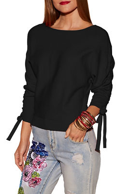 Ruched sleeve boat neck sweater