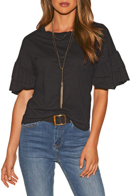 Ruffle sleeve easy slub top