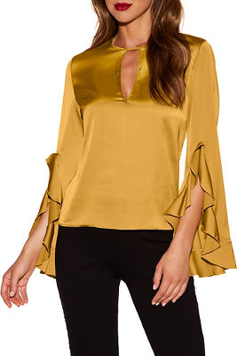 ruffle sleeve keyhole charm blouse
