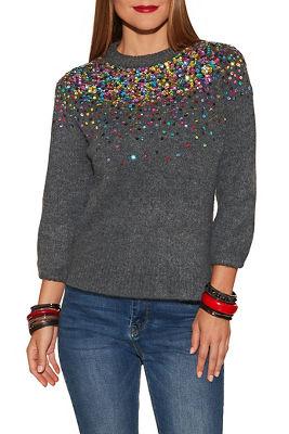 Sequin detail crew neck sweater