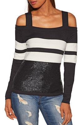 Sequin track stripe cold shoulder sweater