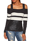 Sequin Track Stripe Cold Shoulder Sweater Photo