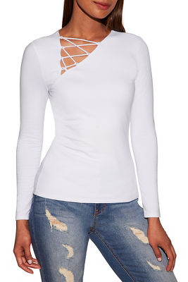 So Sexy™ long sleeve angled lace up top