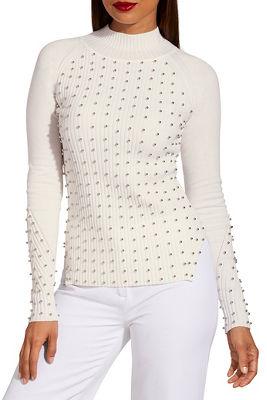 Studded turtleneck sweater