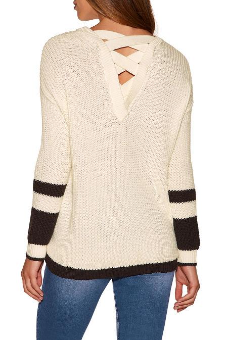 Track stripe cross back sweater image