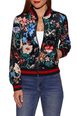 Velvet floral print bomber jacket